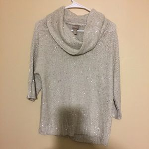 Chico's cowl neck sweater sequin detail size 1